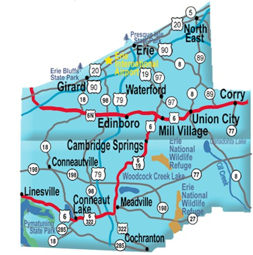 Pa State Map With Counties And Cities.Regions Counties Pa Route 6 Alliance